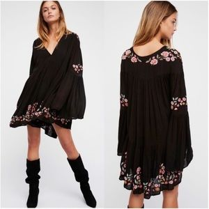 Free People Te Amo Blk Embroidered Babydoll Dress